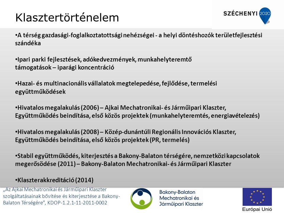 """Klasztertörténelem A térség gazdasági-foglalkoztatottsági nehézségei - a helyi döntéshozók területfejlesztési szándéka Ipari parki fejlesztések, adókedvezmények, munkahelyteremtő támogatások – iparági koncentráció Hazai- és multinacionális vállalatok megtelepedése, fejlődése, termelési együttműködések Hivatalos megalakulás (2006) – Ajkai Mechatronikai- és Járműipari Klaszter, Együttműködés beindítása, első közös projektek (munkahelyteremtés, energiavételezés) Hivatalos megalakulás (2008) – Közép-dunántúli Regionális Innovációs Klaszter, Együttműködés beindítása, első közös projektek (PR, termelés) Stabil együttműködés, kiterjesztés a Bakony-Balaton térségére, nemzetközi kapcsolatok megerősödése (2011) – Bakony-Balaton Mechatronikai- és Járműipari Klaszter Klaszterakkreditáció (2014) """"Az Ajkai Mechatronikai és Járműipari Klaszter szolgáltatásainak bővítése és kiterjesztése a Bakony- Balaton Térségére , KDOP-1.2.1-11-2011-0002"""