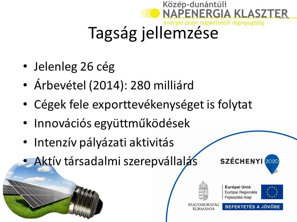 Tagság jellemzése Jelenleg 26 cég Árbevétel (2014): 280 milliárd Cégek fele exporttevékenységet is folytat Innovációs együttműködések Intenzív pályázati aktivitás Aktív társadalmi szerepvállalás