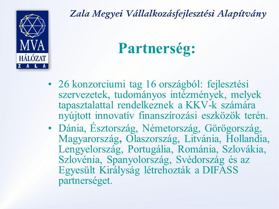 Partnerség: 26 konzorciumi tag 16 országból: fejlesztési szervezetek, tudományos intézmények, melyek tapasztalattal rendelkeznek a KKV-k számára nyújtott innovatív finanszírozási eszközök terén.