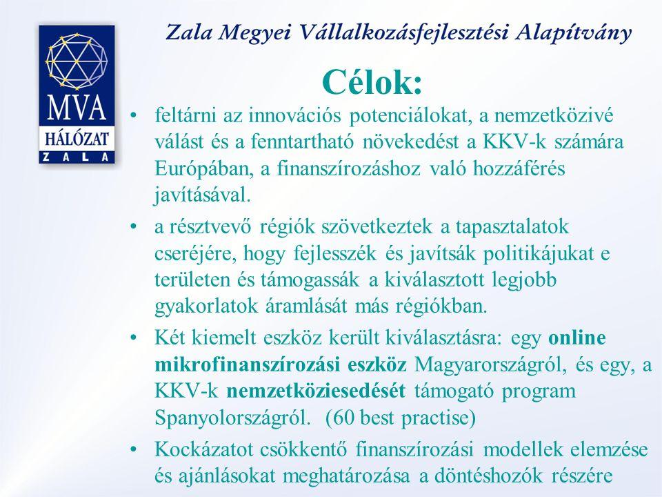 Célok: feltárni az innovációs potenciálokat, a nemzetközivé válást és a fenntartható növekedést a KKV-k számára Európában, a finanszírozáshoz való hoz