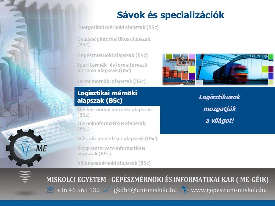 Sávok és specializációk Energetikai mérnöki alapszak (BSc) Logisztikusok mozgatják a világot! Gazdaságinformatikus alapszak (BSc) Gépészmérnöki alapsz