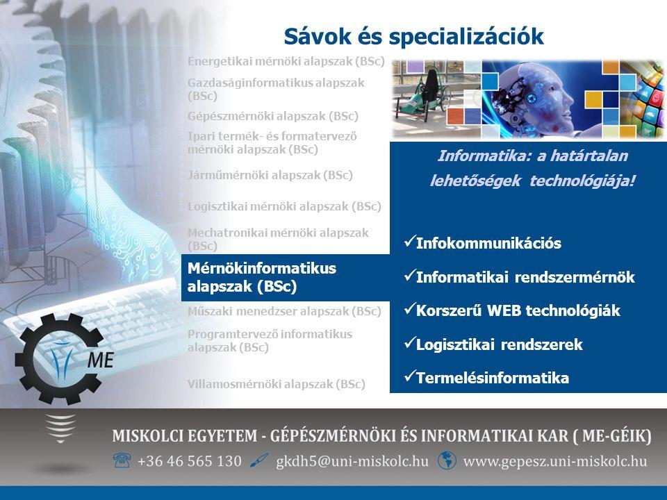 Sávok és specializációk Energetikai mérnöki alapszak (BSc) Informatika: a határtalan lehetőségek technológiája! Infokommunikációs Informatikai rendsze