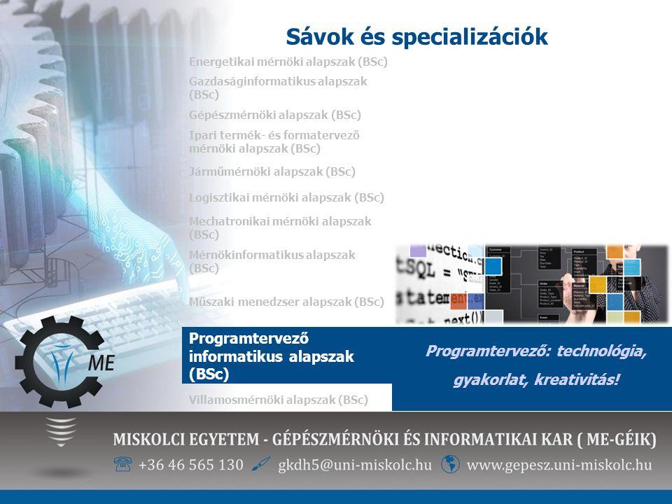 Sávok és specializációk Energetikai mérnöki alapszak (BSc) Programtervező: technológia, gyakorlat, kreativitás! Gazdaságinformatikus alapszak (BSc) Gé