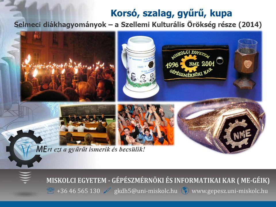 Korsó, szalag, gyűrű, kupa rt ezt a gyűrűt ismerik és becsülik! Selmeci diákhagyományok – a Szellemi Kulturális Örökség része (2014)