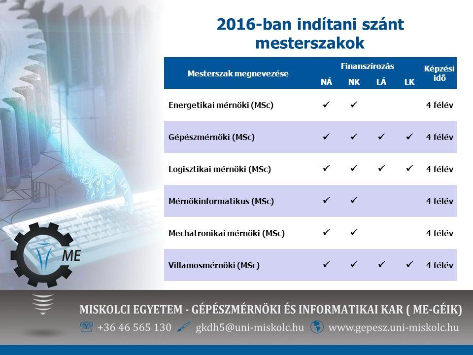 2016-ban indítani szánt mesterszakok Mesterszak megnevezése Finanszírozás Képzési idő NÁNKLÁLK Energetikai mérnöki (MSc) 4 félév Gépészmérnöki (MSc) 4