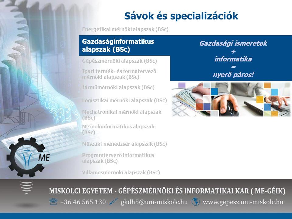 Sávok és specializációk Energetikai mérnöki alapszak (BSc) Gazdasági ismeretek + informatika = nyerő páros! Gazdaságinformatikus alapszak (BSc) Gépész
