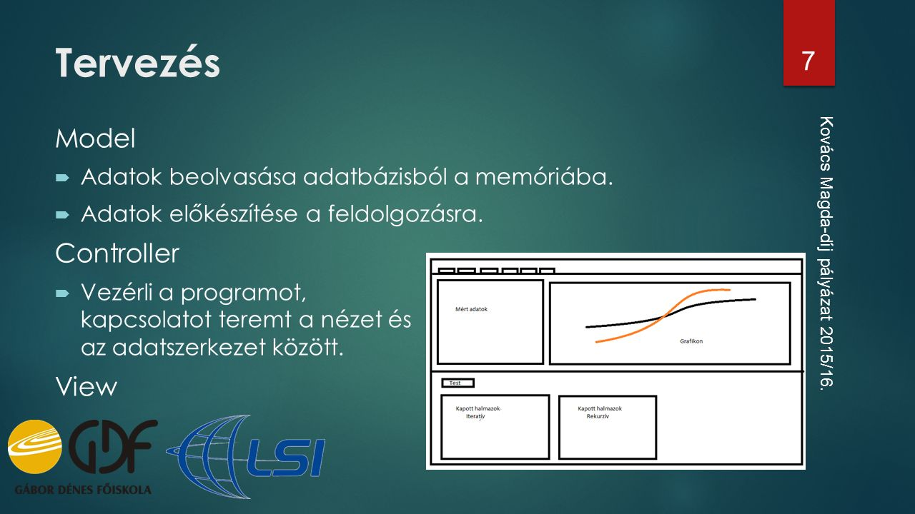 Model  Adatok beolvasása adatbázisból a memóriába.  Adatok előkészítése a feldolgozásra. Controller  Vezérli a programot, kapcsolatot teremt a néze