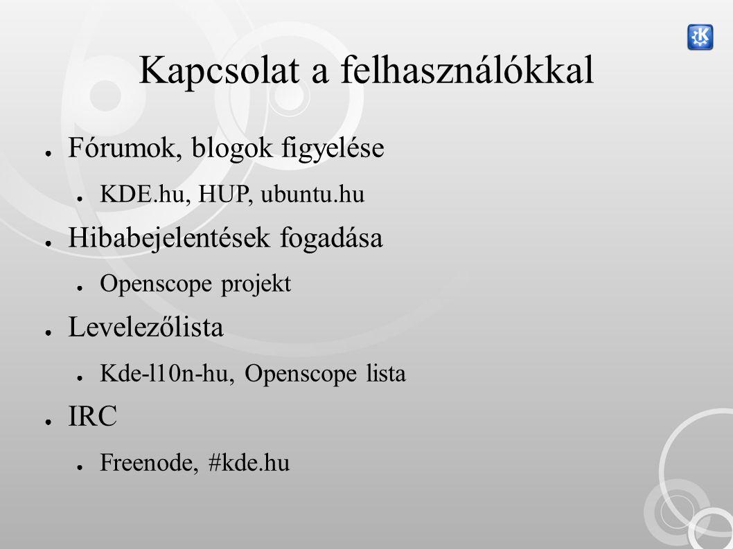 Kapcsolat a felhasználókkal ● Fórumok, blogok figyelése ● KDE.hu, HUP, ubuntu.hu ● Hibabejelentések fogadása ● Openscope projekt ● Levelezőlista ● Kde-l10n-hu, Openscope lista ● IRC ● Freenode, #kde.hu