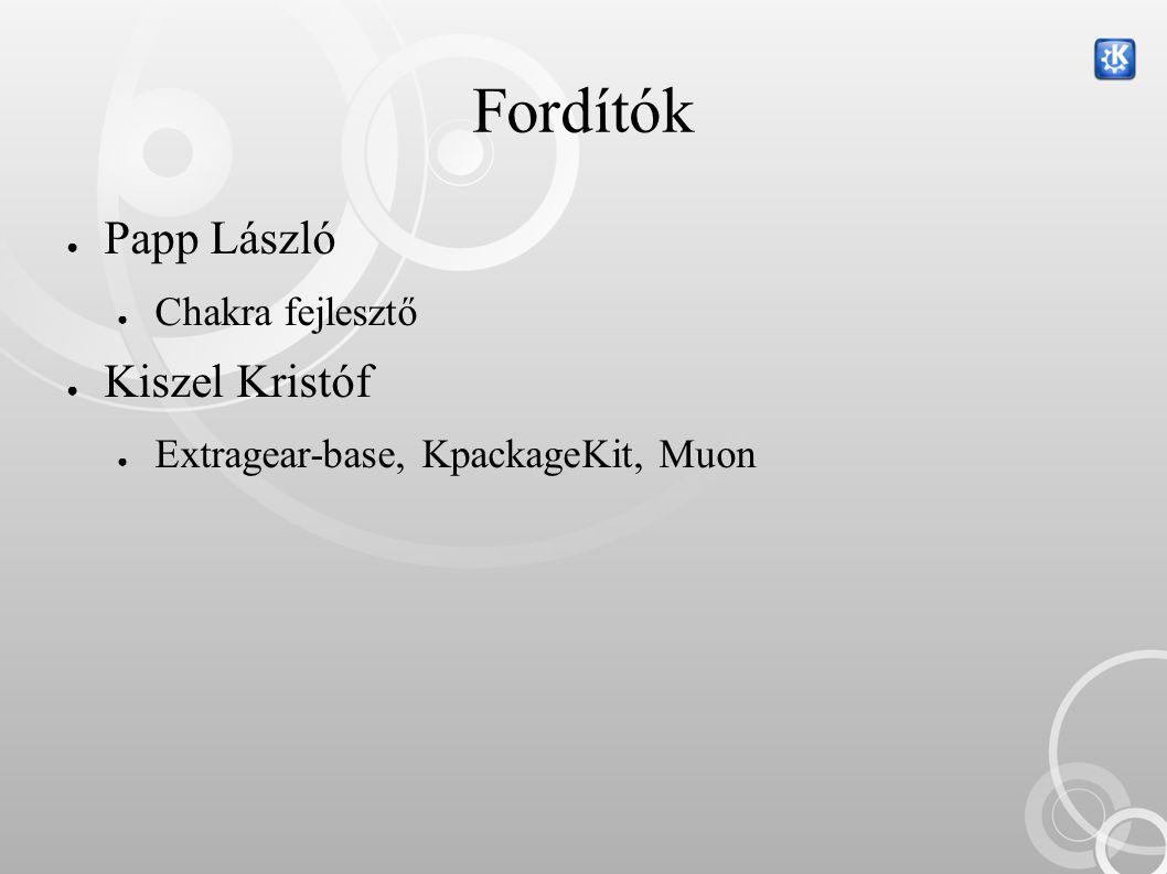 Fordítók ● Papp László ● Chakra fejlesztő ● Kiszel Kristóf ● Extragear-base, KpackageKit, Muon