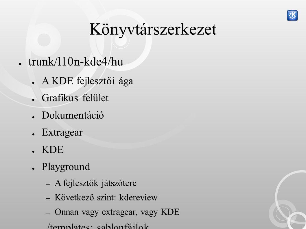A jövő ● Cél a 100% :) ● Ami nincs magyar nyelven… ● Koffice – 75%-os küszöb (~49% jelenleg) ● Kdevelop, Kdevplatform – 75%-os küszöb (nagyon messze) ● Dokumentáció – Ezt is kellene