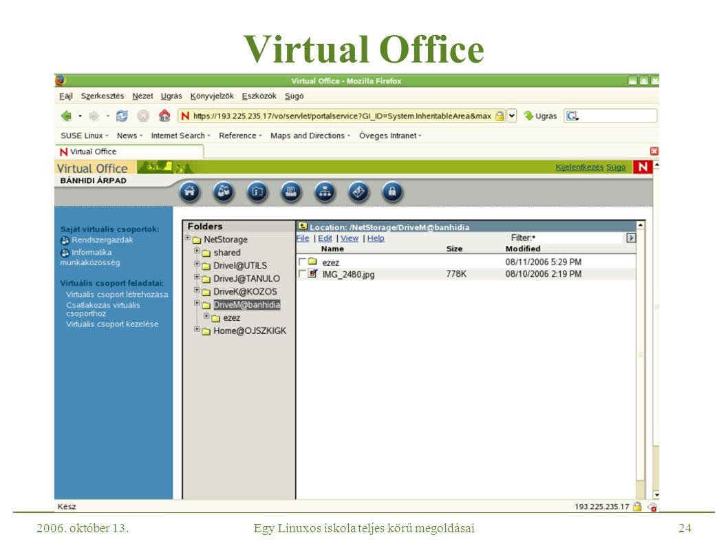 2006. október 13.Egy Linuxos iskola teljes körű megoldásai24 Virtual Office