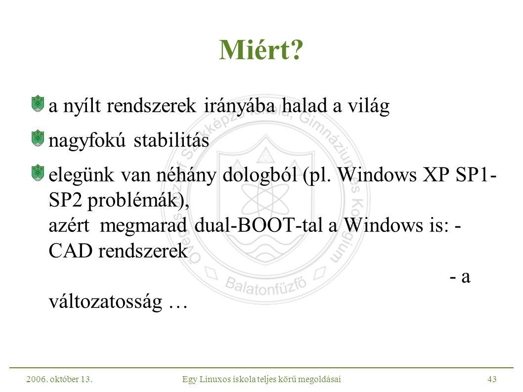 2006. október 13.Egy Linuxos iskola teljes körű megoldásai43 Miért.