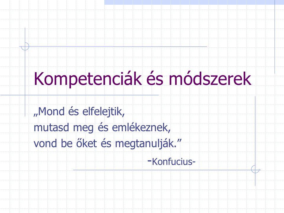 Kulcskompetenciák Intellektuális k. Módszertani k.