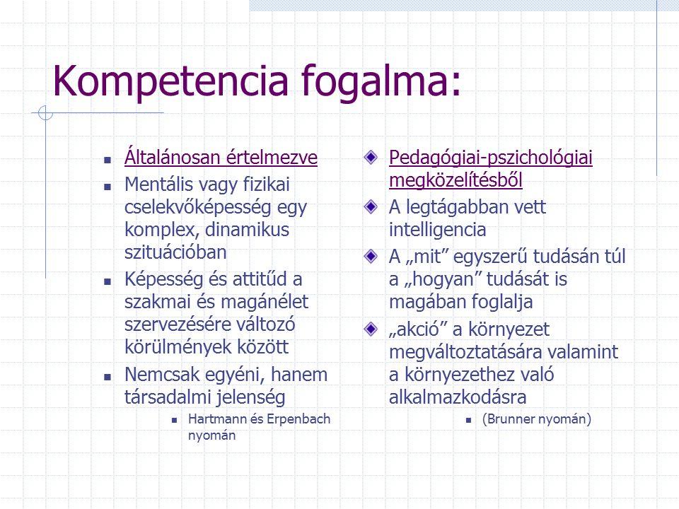 A kompetencia fogalma Egységes