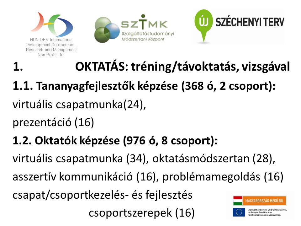 HUN-DEV International Development Co-operation, Research and Management Non-Profit Ltd. 1. OKTATÁS: tréning/távoktatás, vizsgával 1.1. Tananyagfejlesz