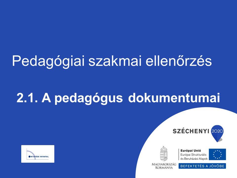 Pedagógiai szakmai ellenőrzés 2.1. A pedagógus dokumentumai