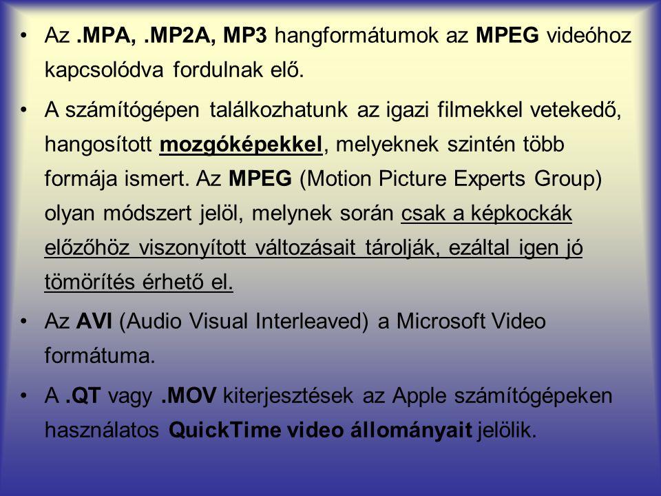 Az.MPA,.MP2A, MP3 hangformátumok az MPEG videóhoz kapcsolódva fordulnak elő. A számítógépen találkozhatunk az igazi filmekkel vetekedő, hangosított mo