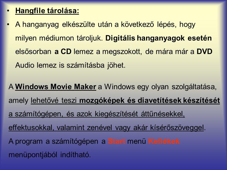 Hangfile tárolása: A Windows Movie Maker a Windows egy olyan szolgáltatása, amely lehetővé teszi mozgóképek és diavetítések készítését a számítógépen, és azok kiegészítését áttűnésekkel, effektusokkal, valamint zenével vagy akár kísérőszöveggel.