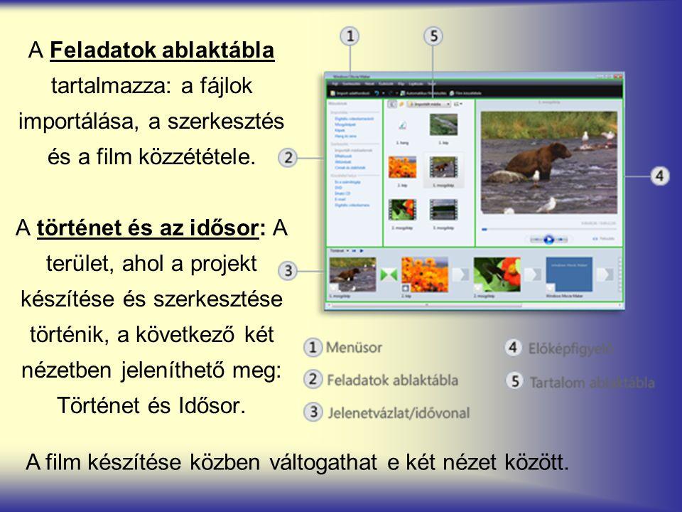 A Feladatok ablaktábla tartalmazza: a fájlok importálása, a szerkesztés és a film közzététele. A történet és az idősor: A terület, ahol a projekt kész