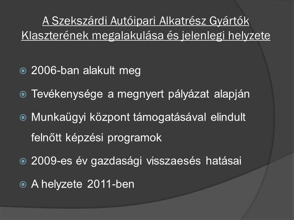 A Szekszárdi Autóipari Alkatrész Gyártók Klaszterének megalakulása és jelenlegi helyzete  2006-ban alakult meg  Tevékenysége a megnyert pályázat alapján  Munkaügyi központ támogatásával elindult felnőtt képzési programok  2009-es év gazdasági visszaesés hatásai  A helyzete 2011-ben