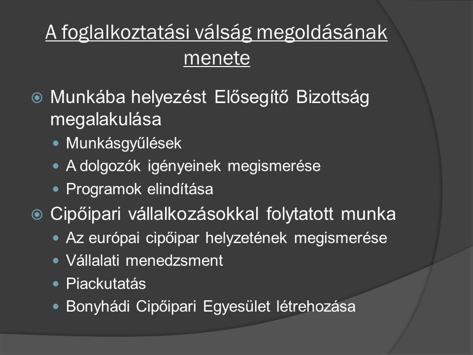 A foglalkoztatási válság megoldásának menete  Munkába helyezést Elősegítő Bizottság megalakulása Munkásgyűlések A dolgozók igényeinek megismerése Programok elindítása  Cipőipari vállalkozásokkal folytatott munka Az európai cipőipar helyzetének megismerése Vállalati menedzsment Piackutatás Bonyhádi Cipőipari Egyesület létrehozása