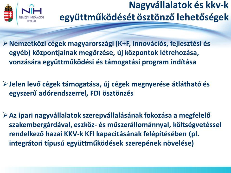Nagyvállalatok és kkv-k együttműködését ösztönző lehetőségek  Nemzetközi cégek magyarországi (K+F, innovációs, fejlesztési és egyéb) központjainak megőrzése, új központok létrehozása, vonzására együttműködési és támogatási program indítása  Jelen levő cégek támogatása, új cégek megnyerése átlátható és egyszerű adórendszerrel, FDI ösztönzés  Az ipari nagyvállalatok szerepvállalásának fokozása a megfelelő szakembergárdával, eszköz- és műszerállománnyal, költségvetéssel rendelkező hazai KKV-k KFI kapacitásának felépítésében (pl.