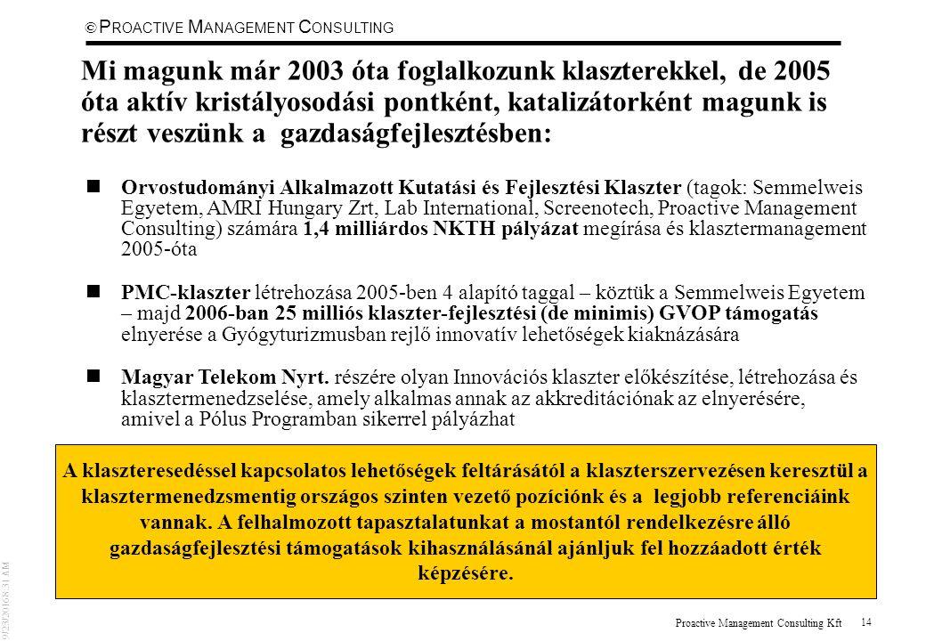 © 9/23/2016 8:31 AM P ROACTIVE M ANAGEMENT C ONSULTING Proactive Management Consulting Kft 14 Mi magunk már 2003 óta foglalkozunk klaszterekkel, de 2005 óta aktív kristályosodási pontként, katalizátorként magunk is részt veszünk a gazdaságfejlesztésben: nOrvostudományi Alkalmazott Kutatási és Fejlesztési Klaszter (tagok: Semmelweis Egyetem, AMRI Hungary Zrt, Lab International, Screenotech, Proactive Management Consulting) számára 1,4 milliárdos NKTH pályázat megírása és klasztermanagement 2005-óta nPMC-klaszter létrehozása 2005-ben 4 alapító taggal – köztük a Semmelweis Egyetem – majd 2006-ban 25 milliós klaszter-fejlesztési (de minimis) GVOP támogatás elnyerése a Gyógyturizmusban rejlő innovatív lehetőségek kiaknázására nMagyar Telekom Nyrt.