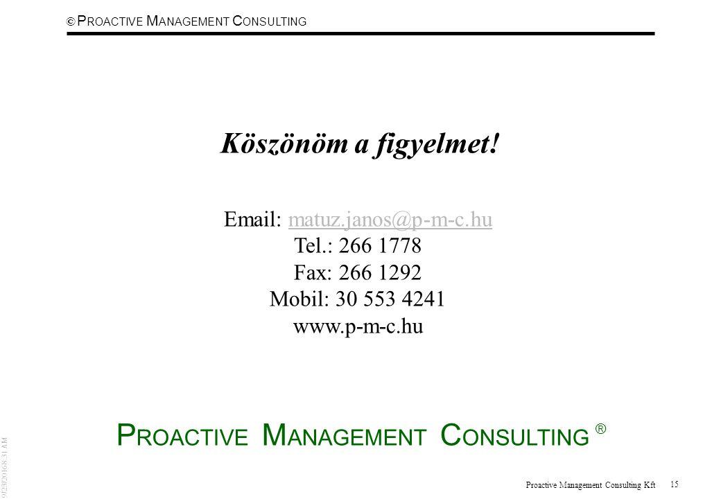 © 9/23/2016 8:31 AM P ROACTIVE M ANAGEMENT C ONSULTING Proactive Management Consulting Kft 15 Köszönöm a figyelmet.