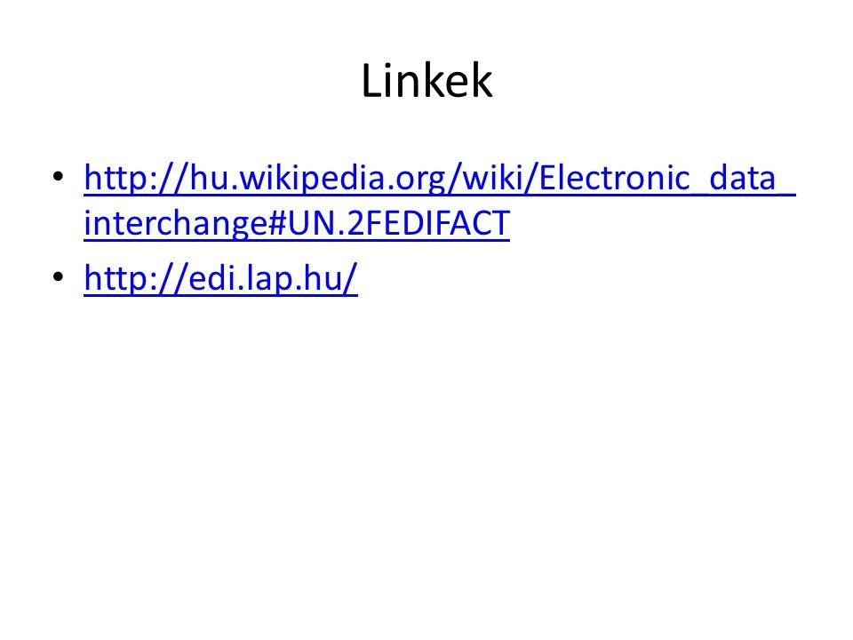 Linkek http://hu.wikipedia.org/wiki/Electronic_data_ interchange#UN.2FEDIFACT http://hu.wikipedia.org/wiki/Electronic_data_ interchange#UN.2FEDIFACT http://edi.lap.hu/