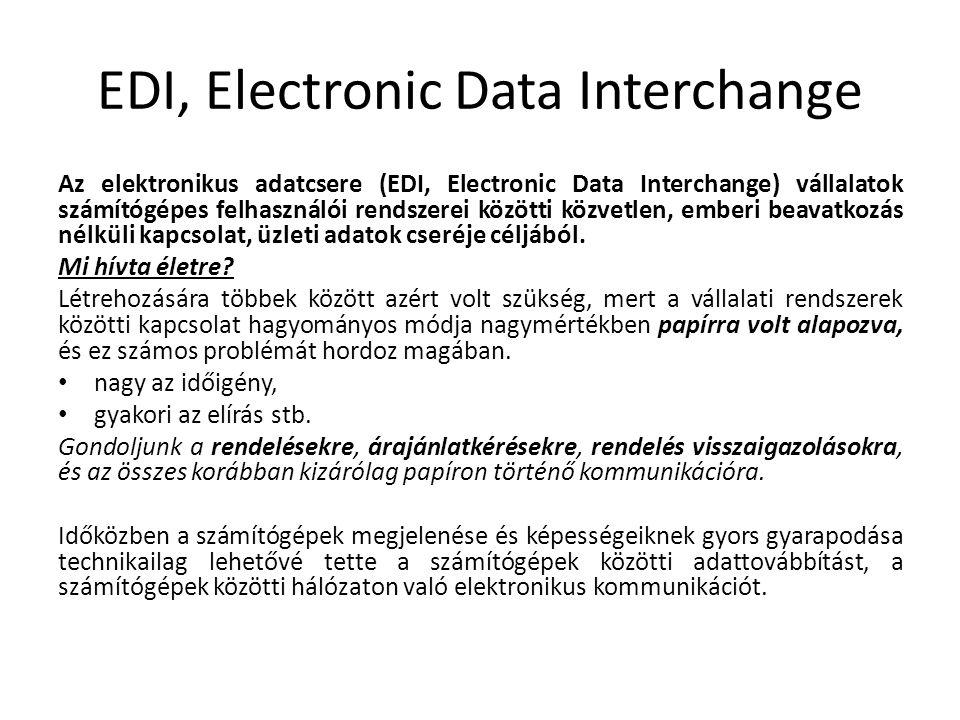 EDI, Electronic Data Interchange Az elektronikus adatcsere (EDI, Electronic Data Interchange) vállalatok számítógépes felhasználói rendszerei közötti közvetlen, emberi beavatkozás nélküli kapcsolat, üzleti adatok cseréje céljából.