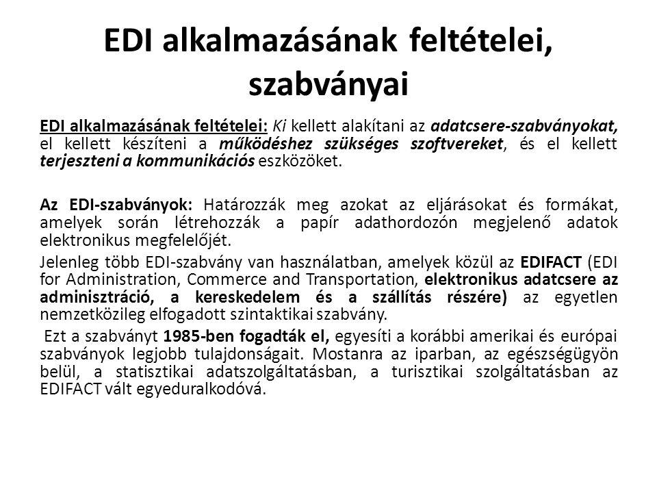 EDI alkalmazásának feltételei, szabványai EDI alkalmazásának feltételei: Ki kellett alakítani az adatcsere-szabványokat, el kellett készíteni a működéshez szükséges szoftvereket, és el kellett terjeszteni a kommunikációs eszközöket.