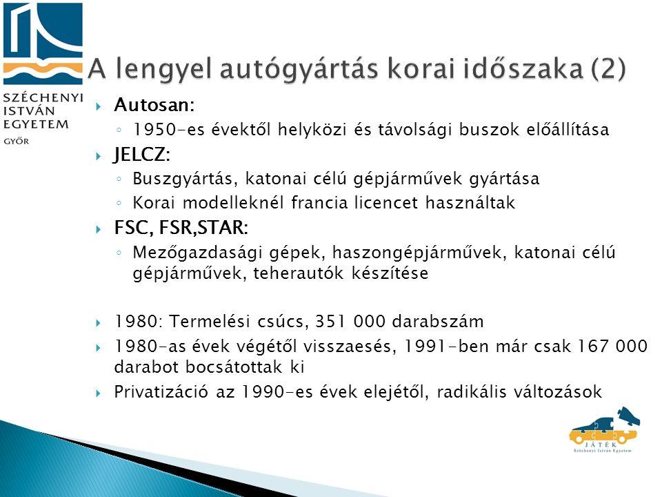  Autosan: ◦ 1950-es évektől helyközi és távolsági buszok előállítása  JELCZ: ◦ Buszgyártás, katonai célú gépjárművek gyártása ◦ Korai modelleknél francia licencet használtak  FSC, FSR,STAR: ◦ Mezőgazdasági gépek, haszongépjárművek, katonai célú gépjárművek, teherautók készítése  1980: Termelési csúcs, 351 000 darabszám  1980-as évek végétől visszaesés, 1991-ben már csak 167 000 darabot bocsátottak ki  Privatizáció az 1990-es évek elejétől, radikális változások