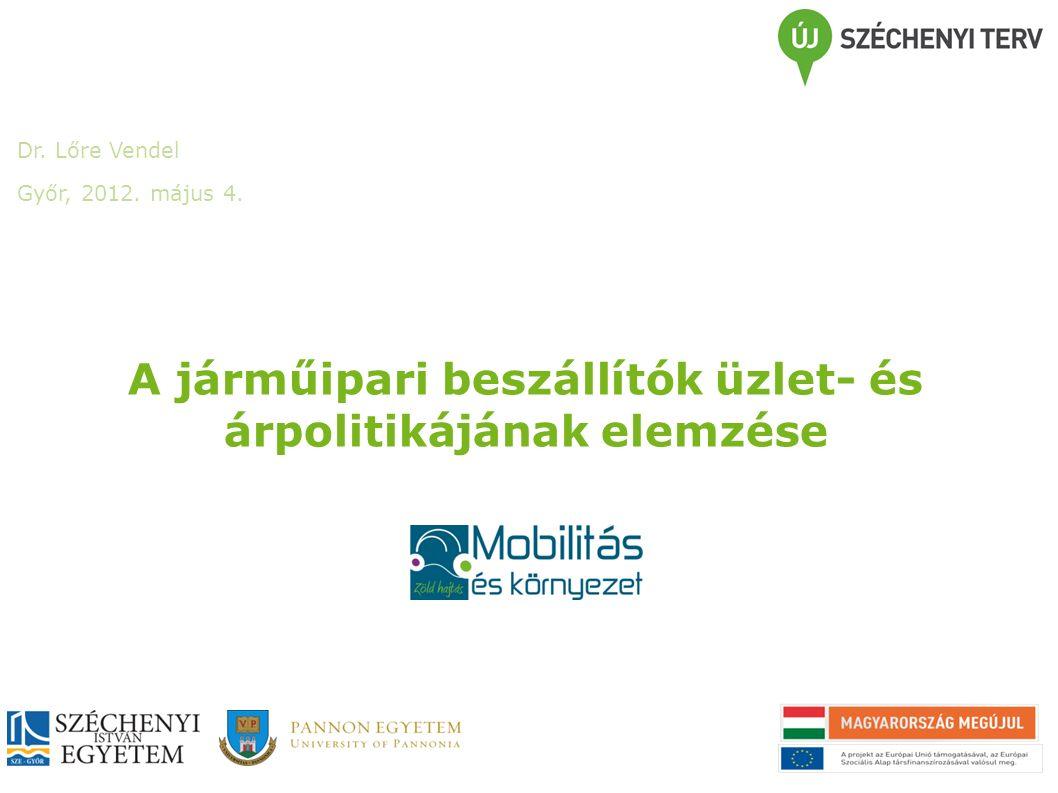 A járműipari beszállítók üzlet- és árpolitikájának elemzése Dr. Lőre Vendel Győr, 2012. május 4.
