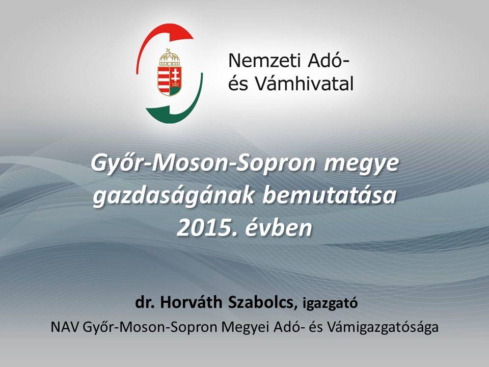 Győr-Moson-Sopron megye gazdaságának bemutatása 2015. évben dr. Horváth Szabolcs, igazgató NAV Győr-Moson-Sopron Megyei Adó- és Vámigazgatósága