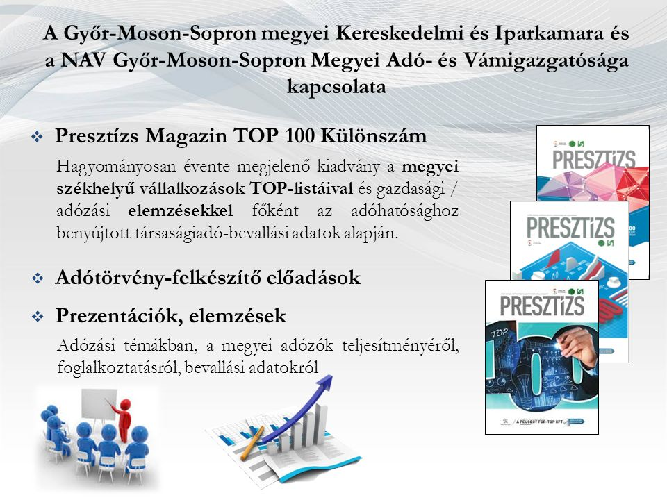 A Győr-Moson-Sopron megyei Kereskedelmi és Iparkamara és a NAV Győr-Moson-Sopron Megyei Adó- és Vámigazgatósága kapcsolata  Presztízs Magazin TOP 100 Különszám Hagyományosan évente megjelenő kiadvány a megyei székhelyű vállalkozások TOP-listáival és gazdasági / adózási elemzésekkel főként az adóhatósághoz benyújtott társaságiadó-bevallási adatok alapján.
