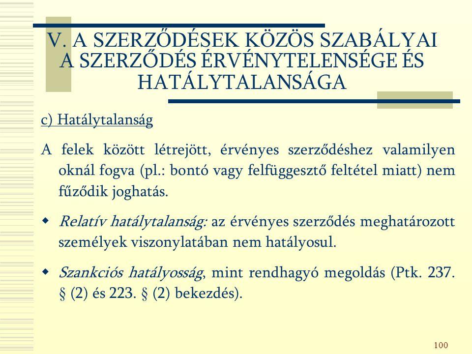 100 c) Hatálytalanság A felek között létrejött, érvényes szerződéshez valamilyen oknál fogva (pl.: bontó vagy felfüggesztő feltétel miatt) nem fűződik joghatás.