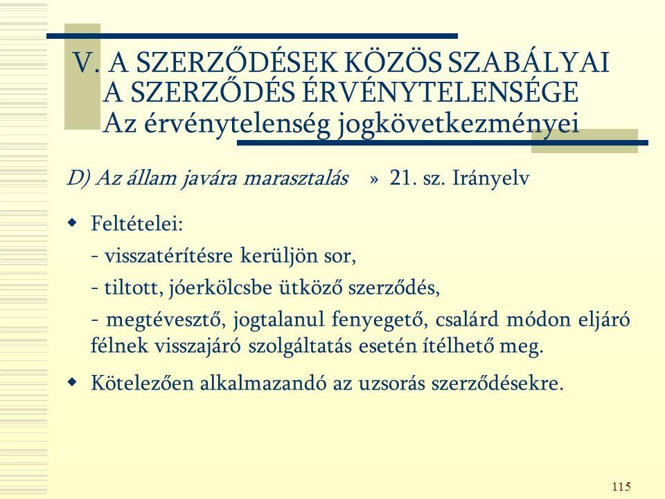 115 D) Az állam javára marasztalás » 21. sz.