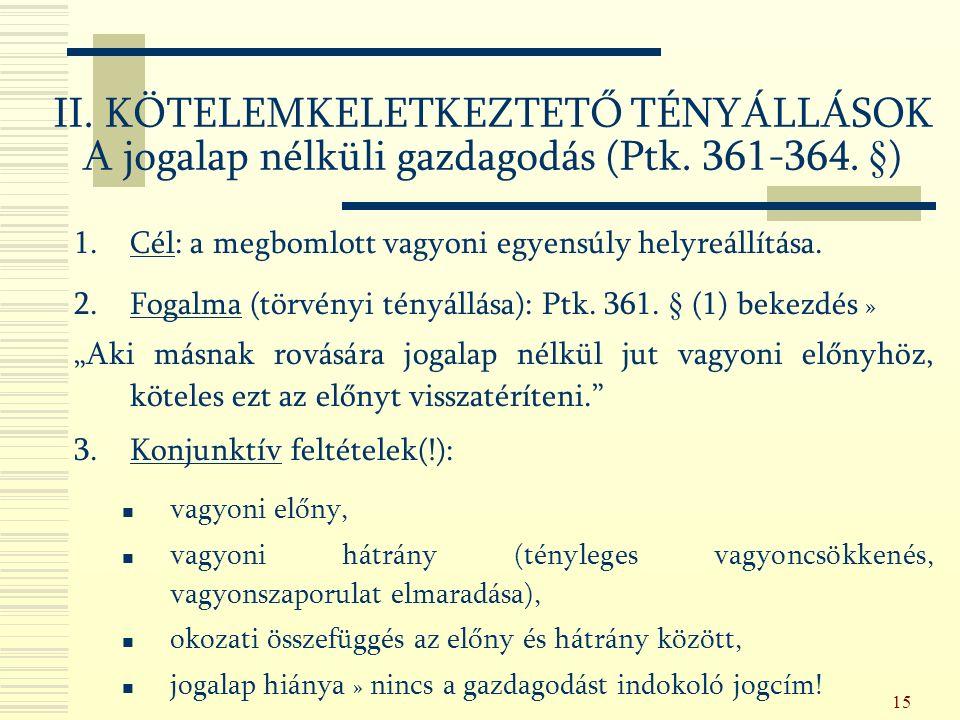 15 II. KÖTELEMKELETKEZTETŐ TÉNYÁLLÁSOK A jogalap nélküli gazdagodás (Ptk.