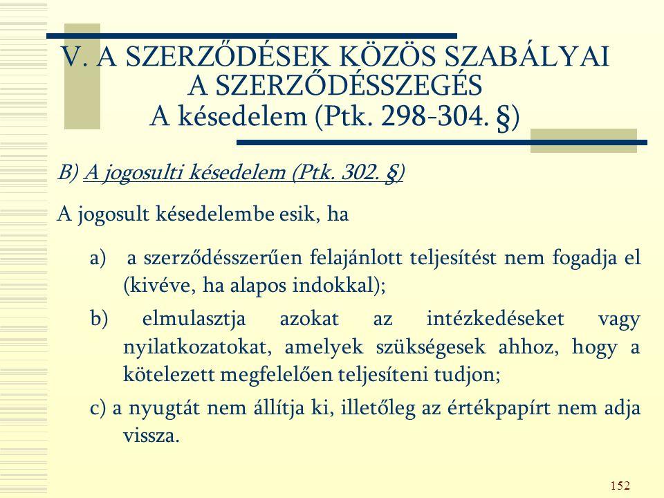 152 B) A jogosulti késedelem (Ptk. 302.