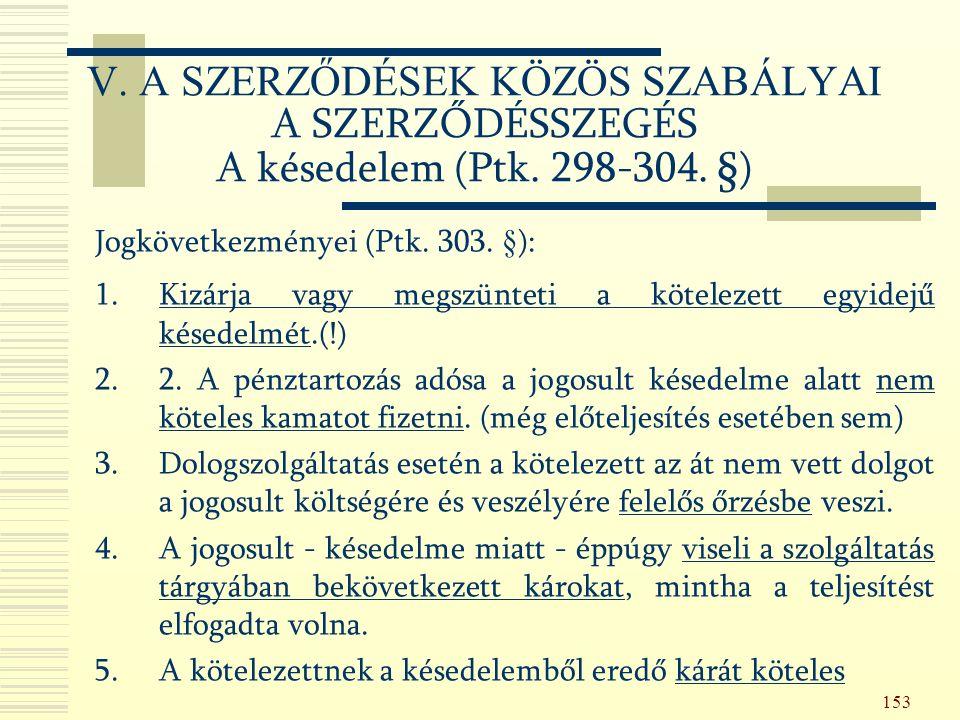 153 Jogkövetkezményei (Ptk. 303.