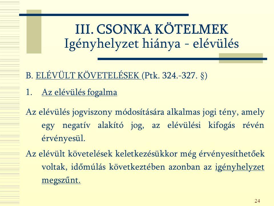 24 B. ELÉVÜLT KÖVETELÉSEK (Ptk. 324.-327.