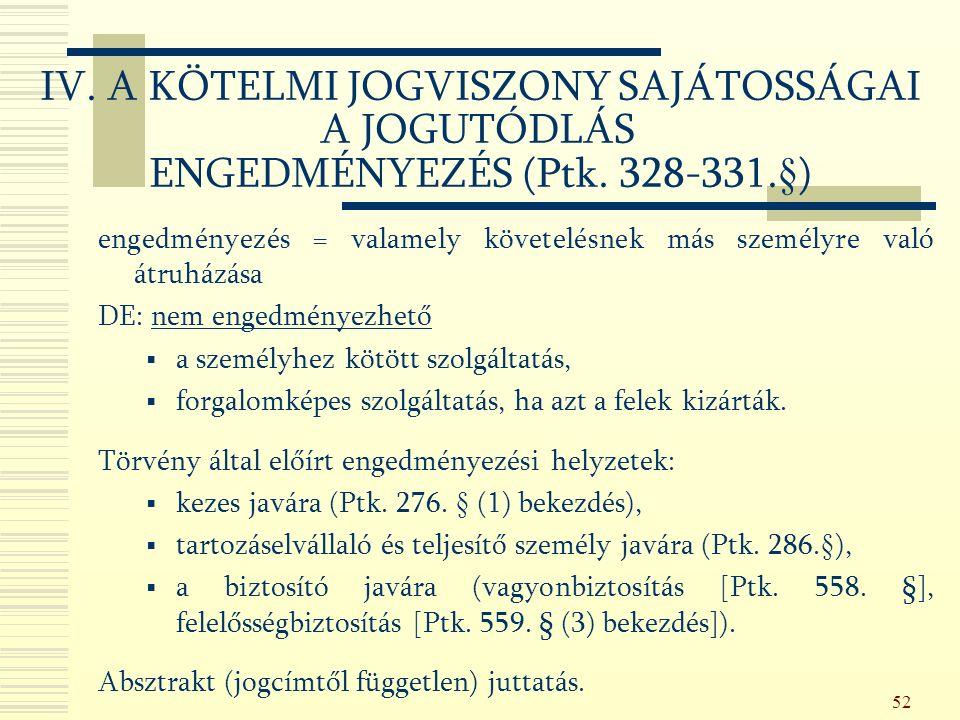 52 IV. A KÖTELMI JOGVISZONY SAJÁTOSSÁGAI A JOGUTÓDLÁS ENGEDMÉNYEZÉS (Ptk.
