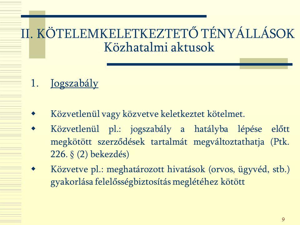130 - A körülmények változása (clausula rebus sic stantibus) pl.: - kölcsönösszeg átadásának megtagadása Ptk.