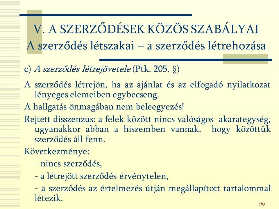 90 c) A szerződés létrejövetele (Ptk. 205.