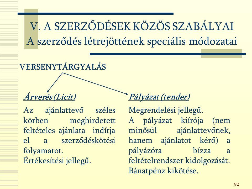 92 VERSENYTÁRGYALÁS Árverés (Licit) Az ajánlattevő széles körben meghirdetett feltételes ajánlata indítja el a szerződéskötési folyamatot.