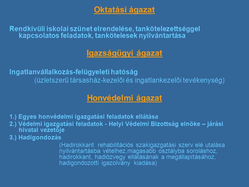 Oktatási ágazat Rendkívüli iskolai szünet elrendelése, tankötelezettséggel kapcsolatos feladatok, tankötelesek nyilvántartása Igazságügyi ágazat Ingatlanvállalkozás-felügyeleti hatóság (üzletszerű társasház-kezelői és ingatlankezelői tevékenység) Honvédelmi ágazat 1.) Egyes honvédelmi igazgatási feladatok ellátása 2.) Védelmi igazgatási feladatok - Helyi Védelmi Bizottság elnöke – járási hivatal vezetője 3.) Hadigondozás (Hadirokkant rehabilitációs szakigazgatási szerv elé utalása nyilvántartásba vételhez,magasabb osztályba soroláshoz, hadirokkant, hadiözvegy ellátásának a megállapításához, hadigondozotti igazolvány kiadása)