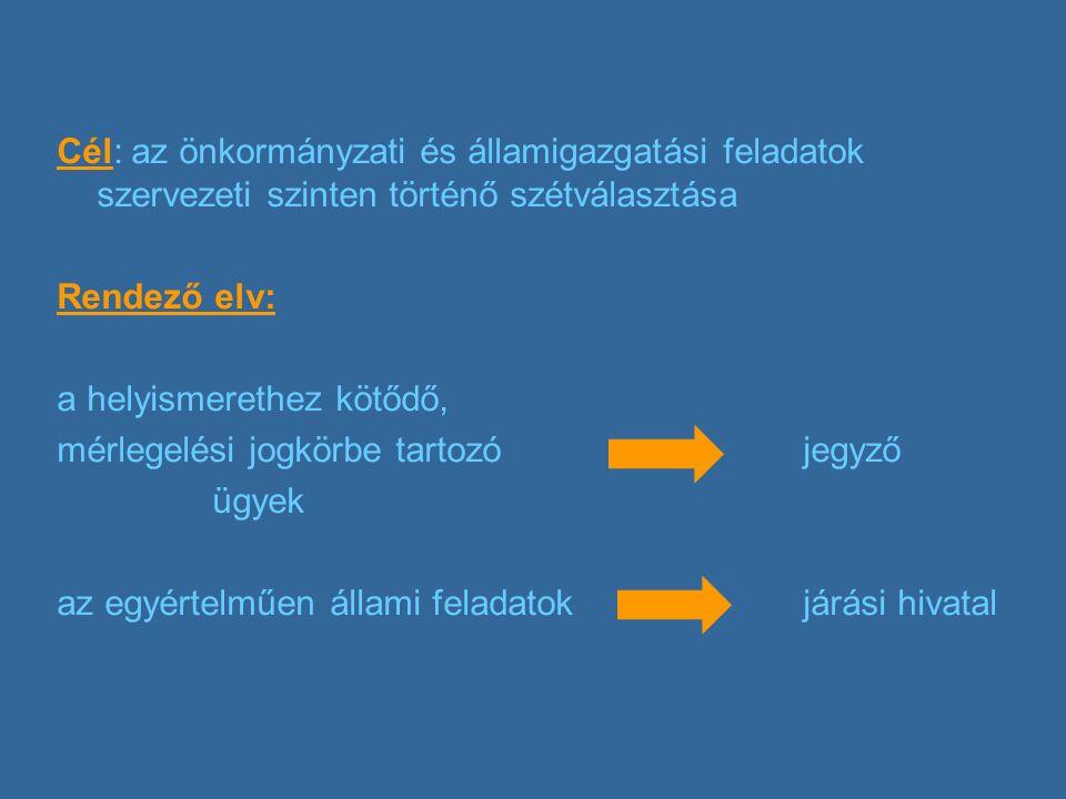 Cél: az önkormányzati és államigazgatási feladatok szervezeti szinten történő szétválasztása Rendező elv: a helyismerethez kötődő, mérlegelési jogkörbe tartozójegyző ügyek az egyértelműen állami feladatok járási hivatal