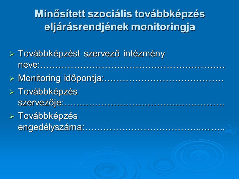 Minősített szociális továbbképzés eljárásrendjének monitoringja  Továbbképzést szervező intézmény neve:……………………………………………………  Monitoring időpontja:…………………………………  Továbbképzés szervezője:…………………………………………….