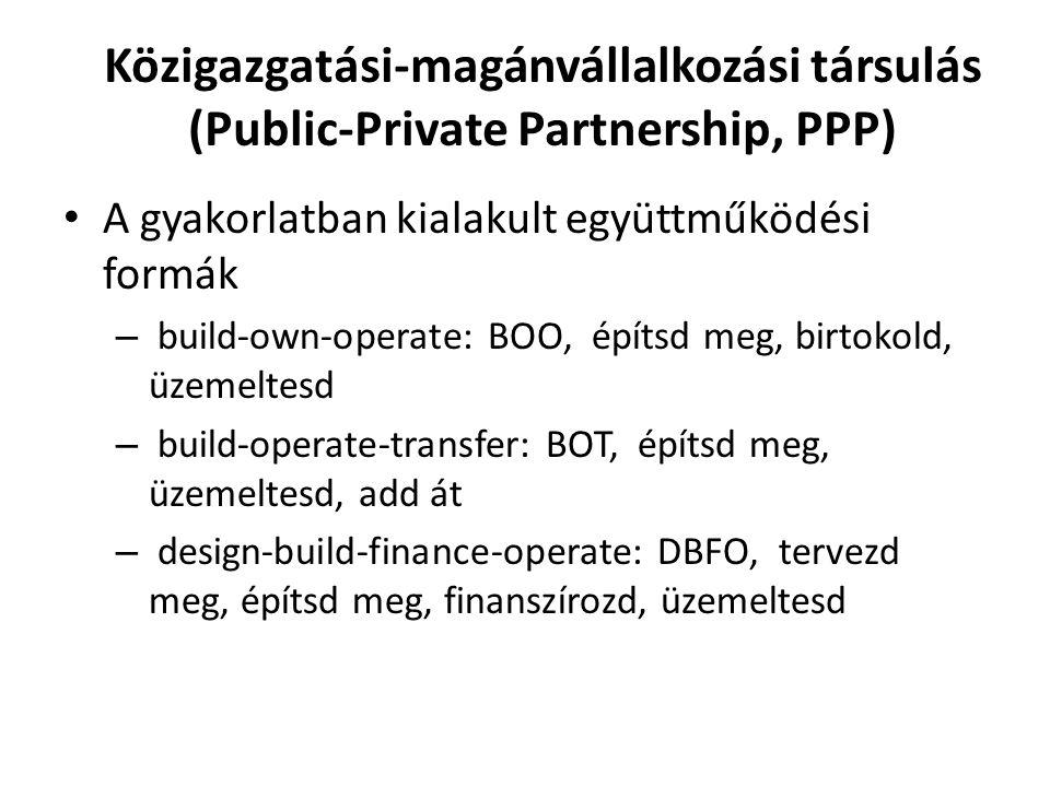 Közigazgatási-magánvállalkozási társulás (Public-Private Partnership, PPP) A gyakorlatban kialakult együttműködési formák – build-own-operate: BOO, építsd meg, birtokold, üzemeltesd – build-operate-transfer: BOT, építsd meg, üzemeltesd, add át – design-build-finance-operate: DBFO, tervezd meg, építsd meg, finanszírozd, üzemeltesd