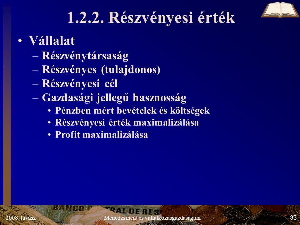 2008. tavasz33Menedzsment és vállalkozásgazdaságtan 1.2.2. Részvényesi érték Vállalat –Részvénytársaság –Részvényes (tulajdonos) –Részvényesi cél –Gaz